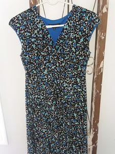JONES NEW YORK black and blue leaf print dress